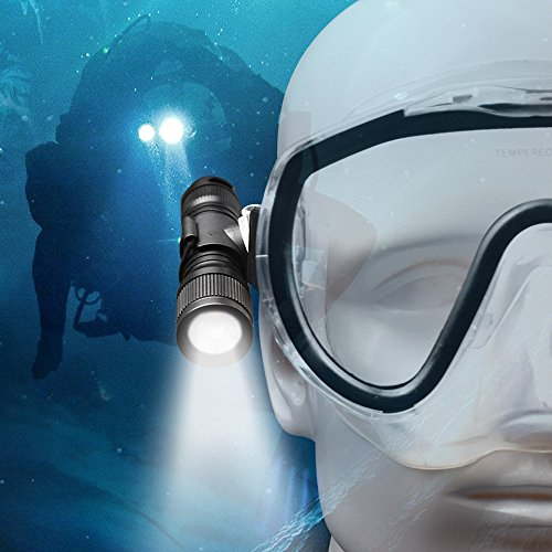 ORCATORCH D560 Mini Scuba Dive Light 630 Lumens Rotary Switch Underwater Torch with 360 Degree Rotatable Mask Clip, Backup Batteries, Lanyard, O-Rings (Not Included Snorkel Mask)