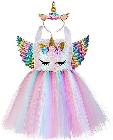 yeesn Disfraz de Unicornio para niñas Unicornio Vestidos Princesa ...