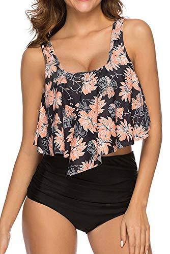 Adisputent Women's Two Piece Swimsuit Flounce Ruffles Strap Racerback Swimwear Vintage Bathing Suit High Waisted Bottom Bikini Set(Black Flower,L)