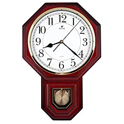 JUSTIME Traditional Schoolhouse Easy to Read Pendulum Plastic Wall Clock Chimes Every Hour With Westminster Melody Made in Taiwan, 4AA Batteries Included (PP0258-1W Red Mahogany)