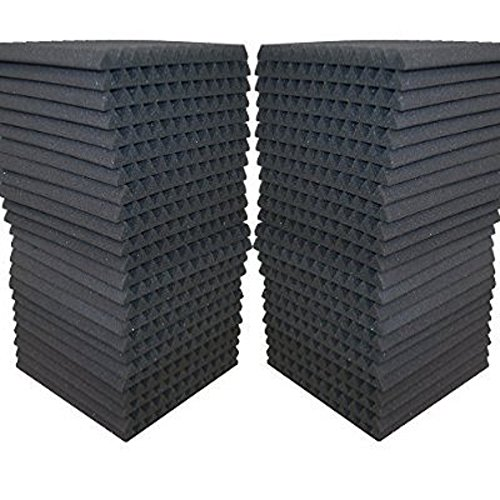 FoamEngineering Acoustic Panels Studio Soundproofing Foam Wedge Tiles, 12 X 12-Inches, 48 Pack