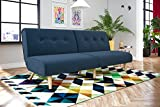 Novogratz Palm Springs Convertible Sofa Sleeper in Rich Linen, Sturdy Wooden Legs and Tufted Design, Blue Linen