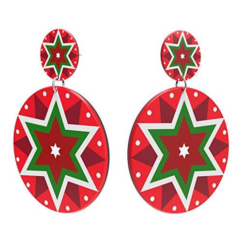 UHIBROS Women Christmas Jewelry Pentagram Dangle Drop Stud Earrings Ear Hook Drop Earring Xmas Gift For Teen Girls