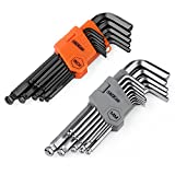 """Tacklife Hex Key, 26 Pieces Ball End Long Arm Allen Wrench Set - with 13 Black-oxide Finish(Inch): 3/64"""" - 3/8"""" and 13 Matte Finished (Metric): 1.27mm - 10 mm   HHW3A"""