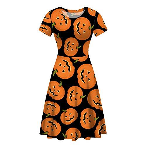 Polka Dot Dress Halloween Costume Ideas (HUGS IDEA Novelty Womens Short Sleeves Round Neck A-line Halloween Pumpkin Polka Dot)
