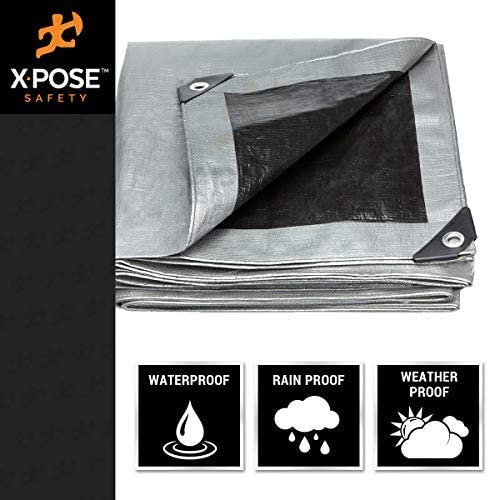 Heavy Duty Poly Tarp Rustproof Grommets Laminated Coating Reversible Silver and Black by Xpose Safety UV Blocking Protective Cover 10 x 20-10 Mil Thick Waterproof