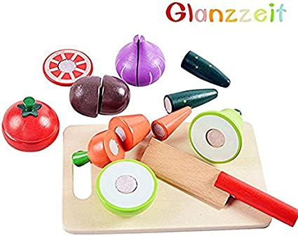 12//16pcs Kitchen Fruit Vegetable Wooden Food Toy Cutting Play Educational Toys s