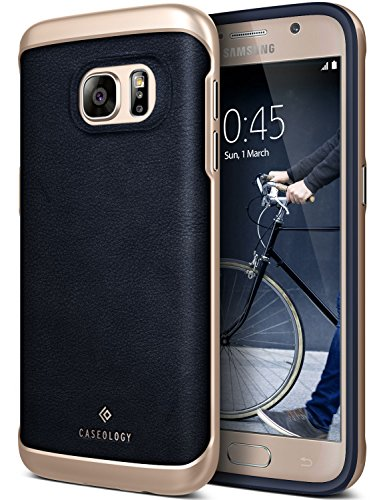 Galaxy S7 Case, Caseology [Envoy Series] Slim Premium PU Leather Dual Layer Protective Corner Cushion Design for Samsung Galaxy S7 (2016) - Leather Navy Blue