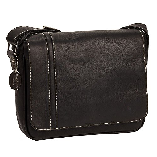 David King Deluxe Leather Medium iPad Messenger Bag with Inlay in ()