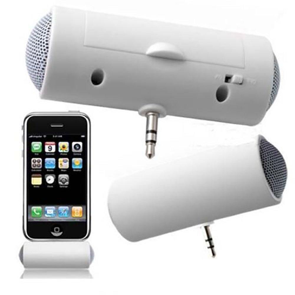 ミニ3.5mm ステレオスピーカー ポータブル音楽プレーヤー 携帯電話 MP3 MP4 iPod iPhone サムスン用 ホワイト B07KFH3G63