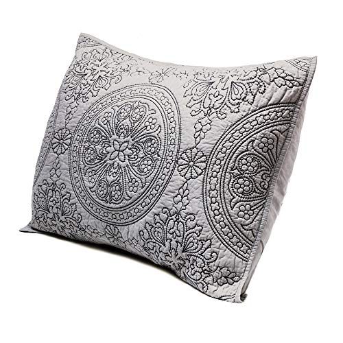 Medallion Embroidered King Pillow Sham 20'' x 36'', Gray ()