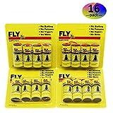 HWTONG Sticky Fly Ribbons, Fly Trap, Fly Catcher Ribbon, Fly Paper Ribbon, Fly Paper Strips, Fly Paper Strips, Fly Catcher Trap, Fly Ribbon, Fly Bait (16 Pack)