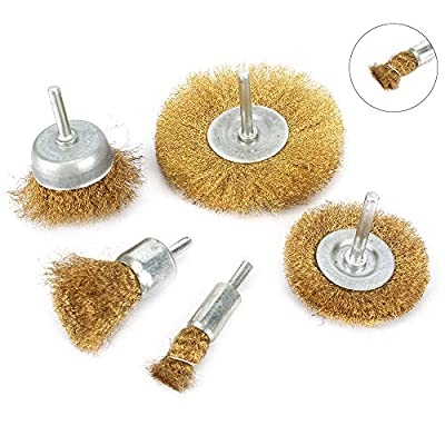 "5Pcs Brass Wire Polishing Brush Wheel Set? Crimped Cup Brush with 1/4"" Shank ?0.13mm Solid Brass for Drill"