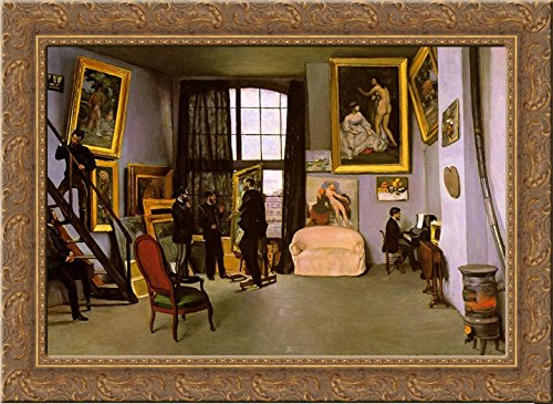 (The Artist's Studio, Rue de la Condamine 24x18 Gold Ornate Wood Framed Canvas Art by Frederic Bazille )