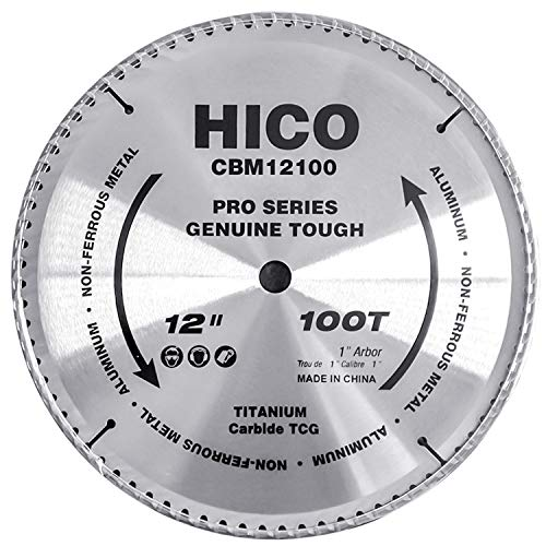 HICO 12-Inch 100-Tooth TCG Aluminum and Non-Ferrous Metal Saw Blade with 1-Inch Arbor, Metal-Cutting Circular Saw Blade