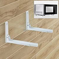 Agile-shop Foldable Stretch Shelf Rack Wall Mount Kitchen Microwave Oven Stand Bracket