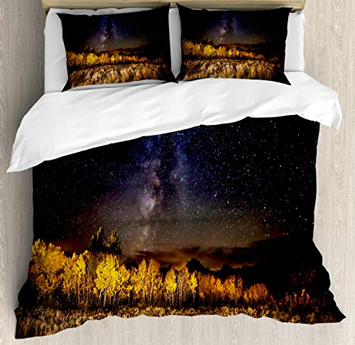 Ambesonne Wyoming Duvet Cover Set King Size, Starry Autumn Night View Photo with Amazing Milky Way Aspen Trees and Tetons, Decorative 3 Piece Bedding Set with 2 Pillow Shams, ()