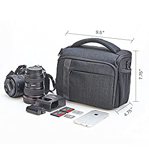 BGTREND DSLR Shoulder Camera Bag Case With Waterproof Rain Cover for Canon, Nikon, Sony, Pentax, Olympus, Samsung (Black)