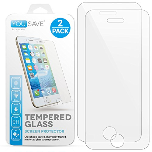 iPhone 5S / 5 / SE / 5C [2-Pack] Glass Screen Protector By Yousave Accessories Crystal Clear Tempered Glass [Ultra Slim 0.3mm / 9H Hardness Rating] Twin Pack (Phone 5 Accessories compare prices)