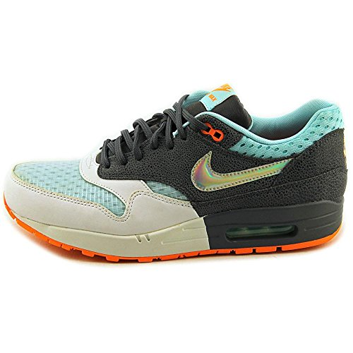 Nike Dames Air Max 1 Prm Trainers 454746 103 Sneakers Schoenen Hologram-wit / Mtllc Sivler-dark Grey-glcr