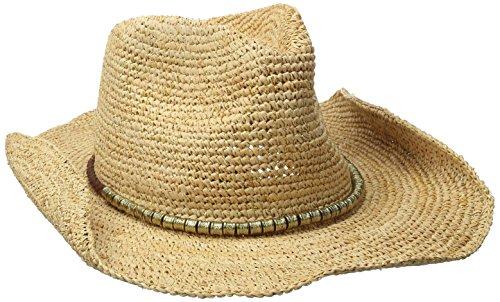 Physician Endorsed Women's Sierra Crochet Raffia Cowboy Sunhat, Adjustable and UPF Rated, Natural/Gold, (Raffia Crochet Hat)