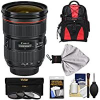 Canon EF 24-70mm f/2.8 L II USM Zoom Lens with Backpack + 3 Filters Kit for EOS 6D, 70D, 7D, 5DS, 5D Mark II III, Rebel T3i, T5, T5i, T6i, T6s, SL1