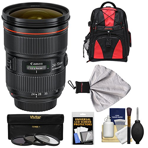 Canon EF 24-70mm f/2.8 L II USM Zoom Lens with Backpack + 3