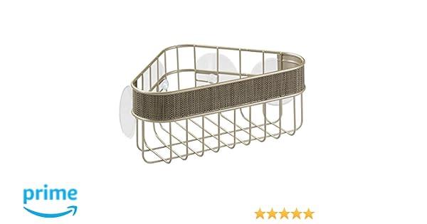 InterDesign Twillo Estante rinconero con ventosas | Cesta de baño inoxidable para ducha y bañera | Estanterías de baño sin taladro | Metal color ...