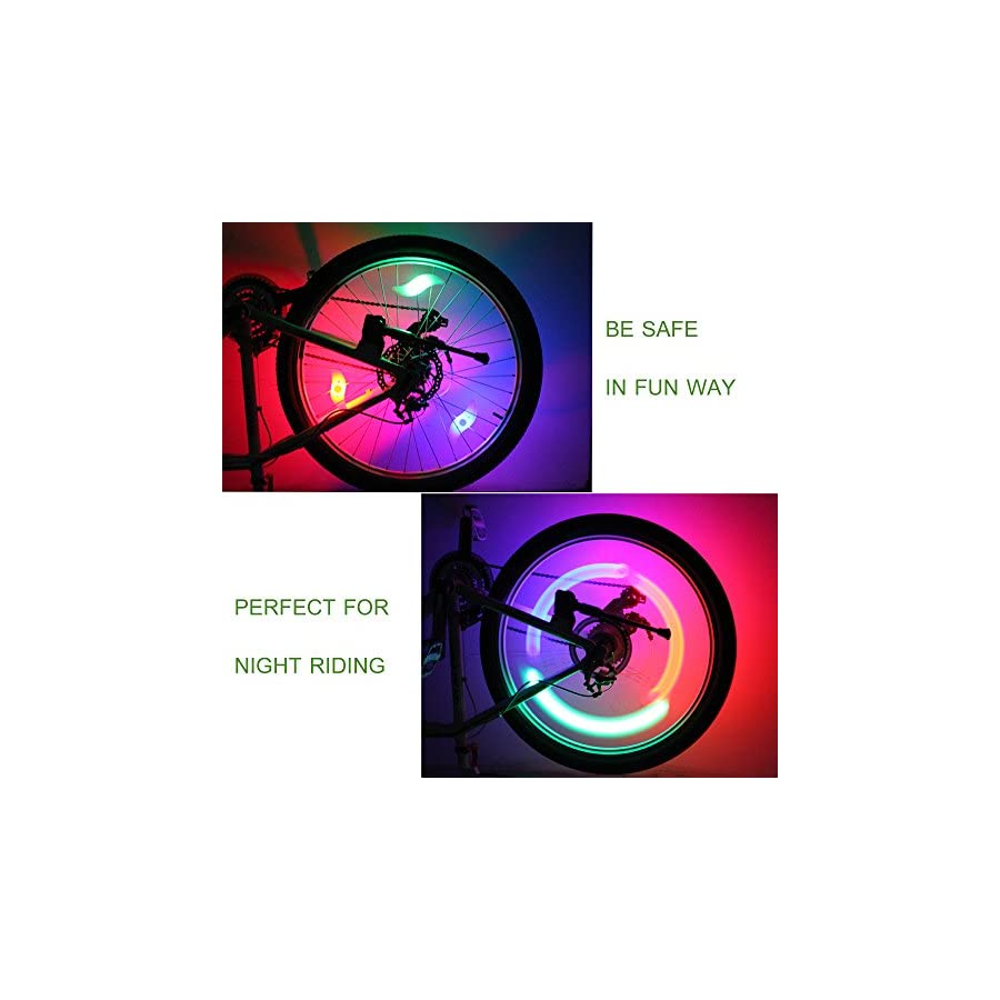 Bike Spoke Lights Bicycle Lights for Wheels Decoration LED Waterproof Cycling Tire Tyre Rim Alarm Lamp for Safety 3 Modes Batteries Included (Blue/Green/Red/Mulit Color)