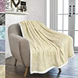 PAVILIA Premium Beige Sherpa Melange Throw Blanket for Couch, Sofa by Soft, Fluffy, Plush, Warm, Cozy, Fuzzy Lightweight Microfiber, Luxury Modern Reversible TV Blanket (50 x 60 Inches, Latte)