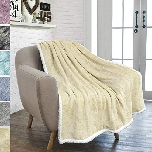 PAVILIA Premium Sherpa Throw Blanket for Couch Bed Sofa | Warm, Soft Microfiber Sherpa Fleece Throw | Plush Reversible Melange All Season Blanket (50 X 60 Inches Latte Beige)
