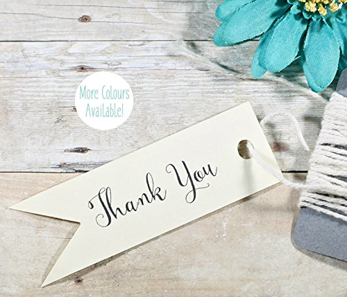 Cream Flag Shaped Gift Tags - Thank You Labels (Set of (Cream Flag)