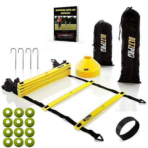 Bltzpro AGILITY LADDER with CONES Fitness Gear- Improve Soccer,Football & Sports Skills, Used by Athletes & Coaches.16ft| 12 Adjustable Rungs|12 Cones|2 Carry Bags|4 pegs|footwork drills ebook -