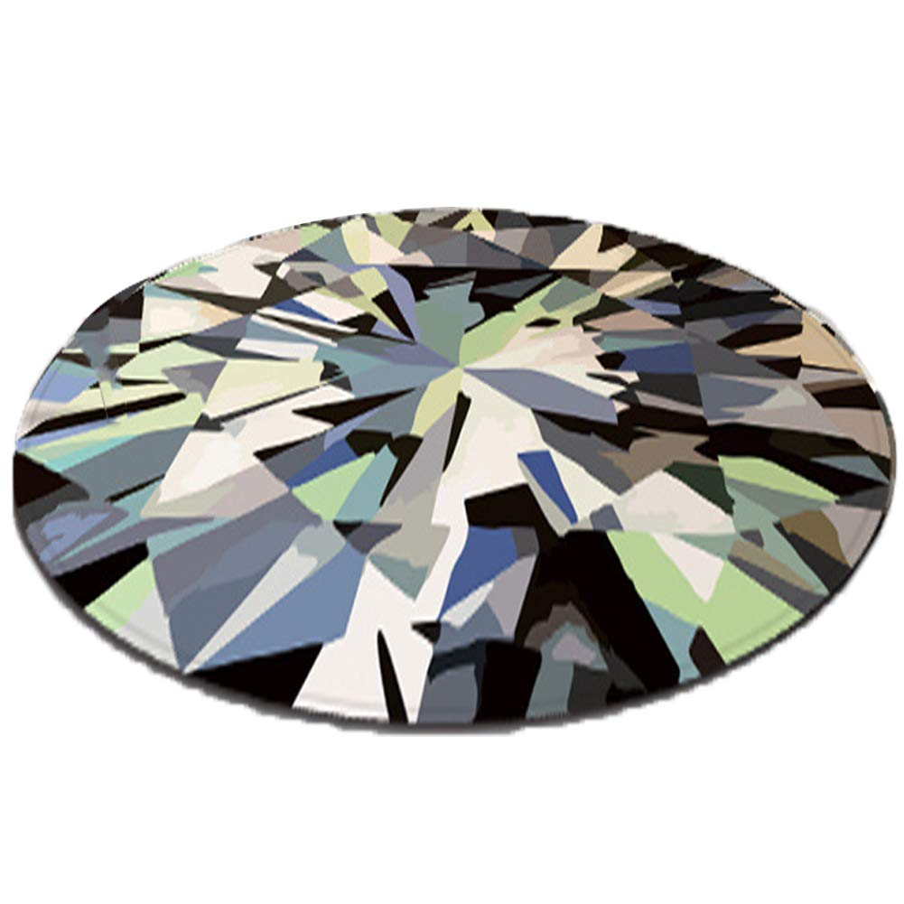 GSJJ Color Alfombra Redonda Modelo Diamante Lavable a ...
