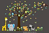 Adhesive Nursery Decals - Large Animal Wall Decals - Safari and Jungle Themed Wall Decals - Baby Nursery Room Decor - Nursery Prints - Baby Fashion - Baby Shower Gift - Kids Style - Kids Art