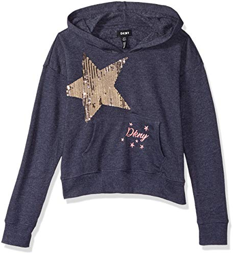 DKNY Girls' Big Hoodie with Sequin Star, Eclipse,
