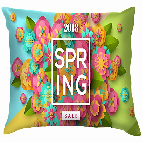 Spring Sale Flyer Template Paper Cut Nature Soft Cotton Linen Cushion Cover Pillowcases Throw Pillow Decor Pillow Case Home Decor 12X12 Inch (Sale Flyer Templates)