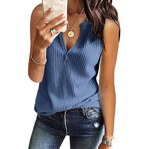 (Women Summer Blouses and Tops, Alonea Fashion V Neck Sleeveless Solid Waffle Knit Loose Fitting Tee Shirt Blue)