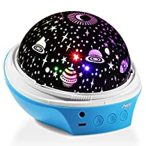 Star Night Light Projector, MAD GIGA Night Light Projector Lamp, USB & Battery Powered, 360 ° Rotating Decorative Lamp Romantic Mood Light for Baby Kids Adults Nursery Bedroom Living Room Dream Rotating Projection Lamp Equipped with 2 Lampshades