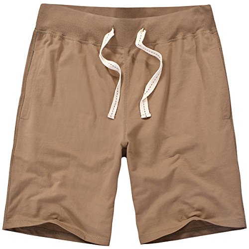 Amy Coulee Men Durable Cotton French Terry Sweat Gym Shorts (XXL, Brown) ()
