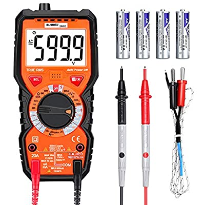 Suaoki SM02 Digital Multimeter DC AC Current Voltage Resistance Tester Manual Ranger with Non Contact Voltage Detection 6000 Counts LCD Display, Black Orange