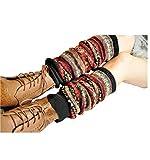 Women Fashion Winter Bohemian High Leg Knit Crochet Leg Warmers (Black)