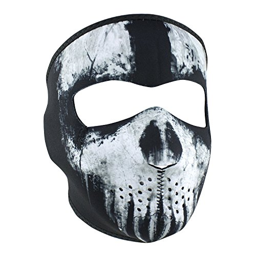Black White Grey Ghost Skull Reversible to Black Neoprene Full Face Mask