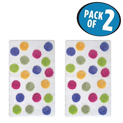 mDesign Polka Dot Color Accent Shower Rug for Bathroom - Pack of 2, Bright (Dot Polka Dot Rug)