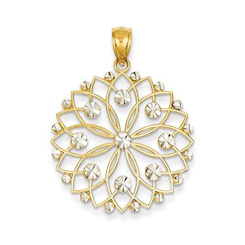 14k Yellow Gold and White Rhodium Diamond Cut Flower Pendant, 26mm (Rhodium Cut Flower Diamond)