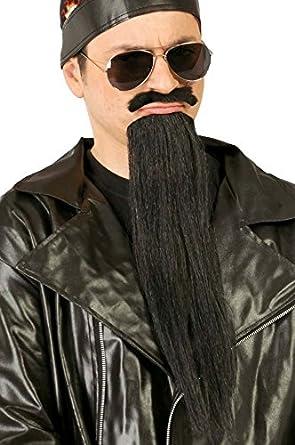Mens Long Black Biker Halloween Fancy Dress Costume Outfit Beard ...
