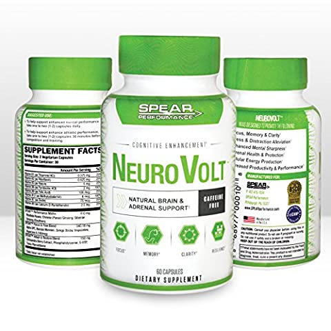 NeuroVolt- The #1 Natural Brain & Adrenal Support- Nootropics & Adaptogens for Focus, Memory, and Clarity * Alleviate Stress * Boost Energy Levels & Feel Limitless with Greater Focus and - Adrenal Boost