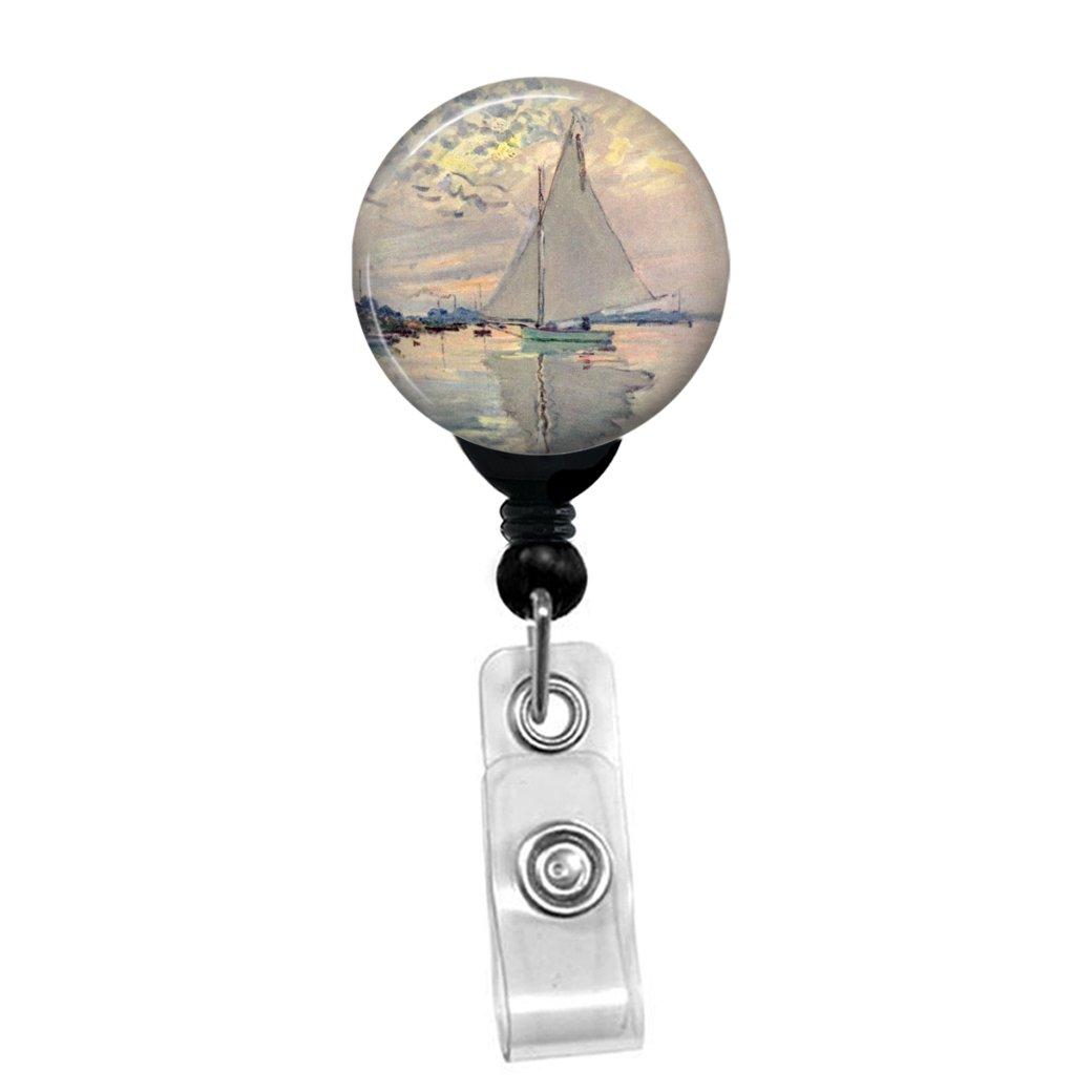 Claude Monet – Sailboat – Retráctil Badge Reel – ID personalizado Etiqueta de Nombre personalizado ID Badge Holder 8c24dc