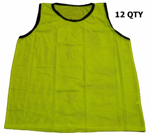Workoutz Adult Yellow Soccer Pinnies  Scrimmage Vests Mesh B