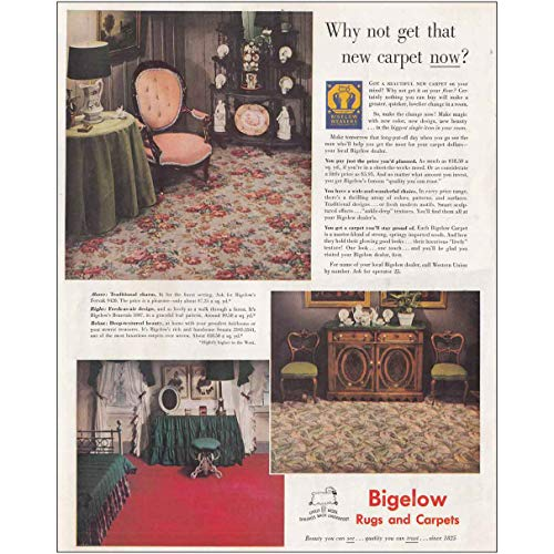 RelicPaper 1949 Bigelow Rugs and Carpets: Why Not Get That New Carpet, Bigelow Print Ad ()